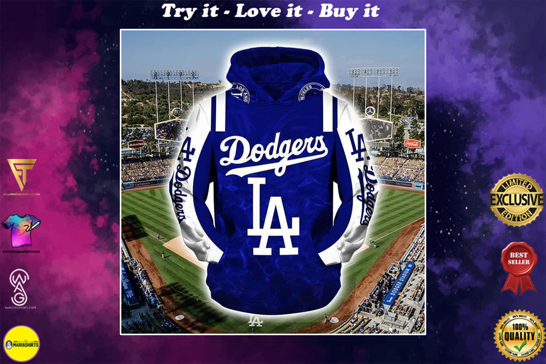 [highest selling] major league baseball los angeles dodgers full over printed shirt - maria