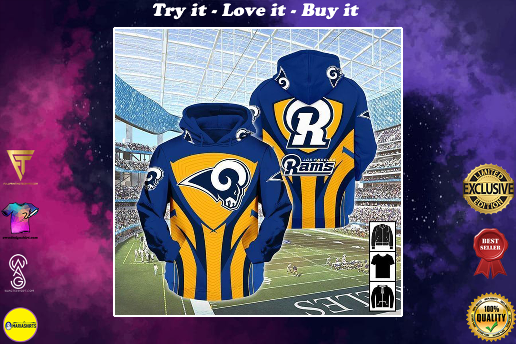 [highest selling] mascot for rams los angeles rams football team full over printed shirt - maria