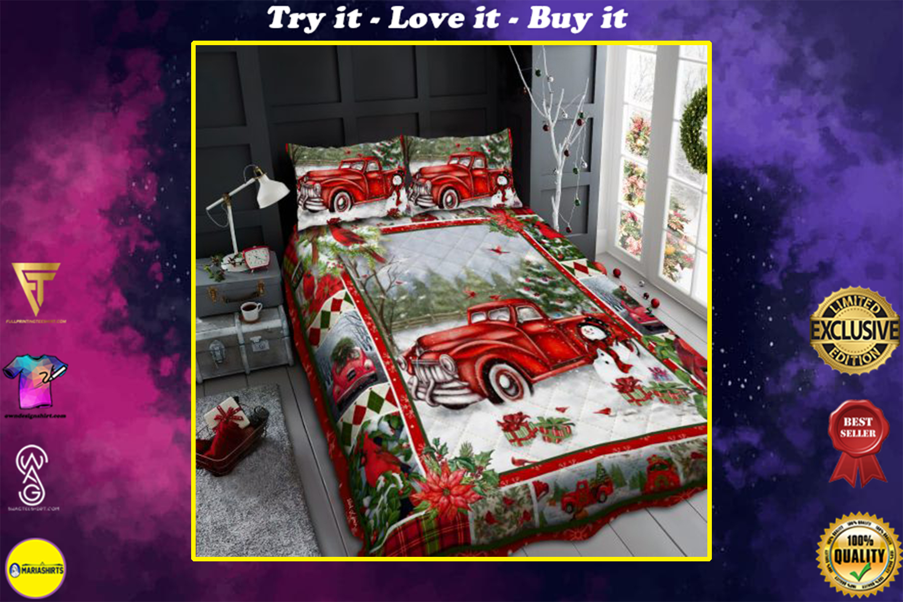 [highest selling] merry christmas and red truck all over print bedding set - maria