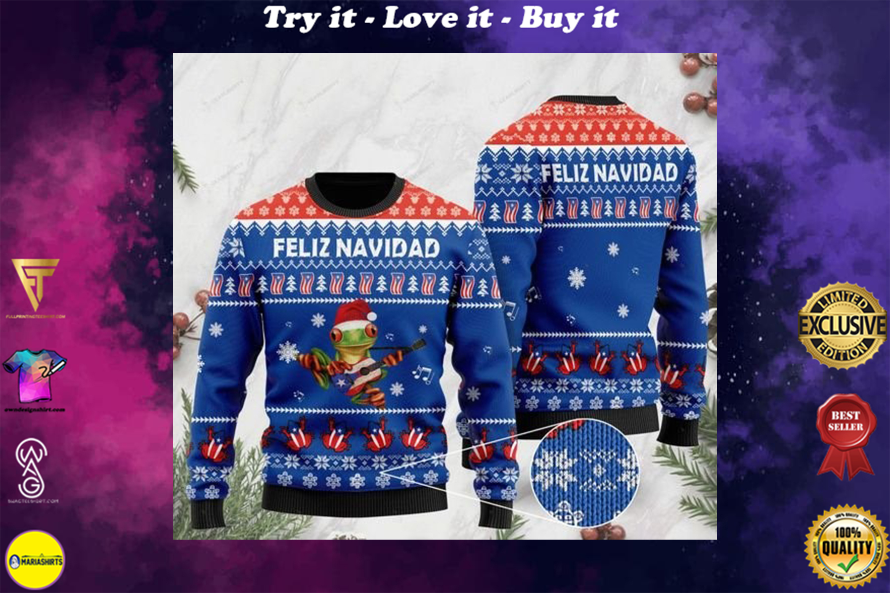 [highest selling] merry christmas puerto rico feliz navidad ugly sweater - maria