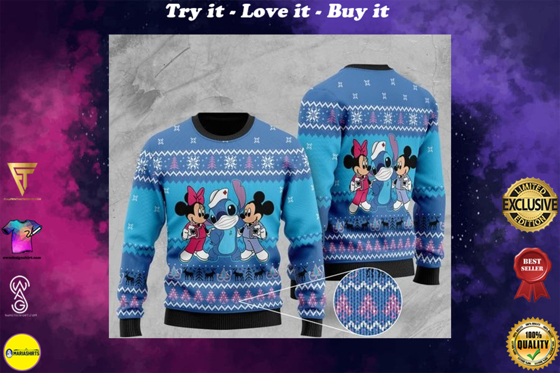 [highest selling] mickey mouse mickey minnie and stitch christmas ugly sweater - maria