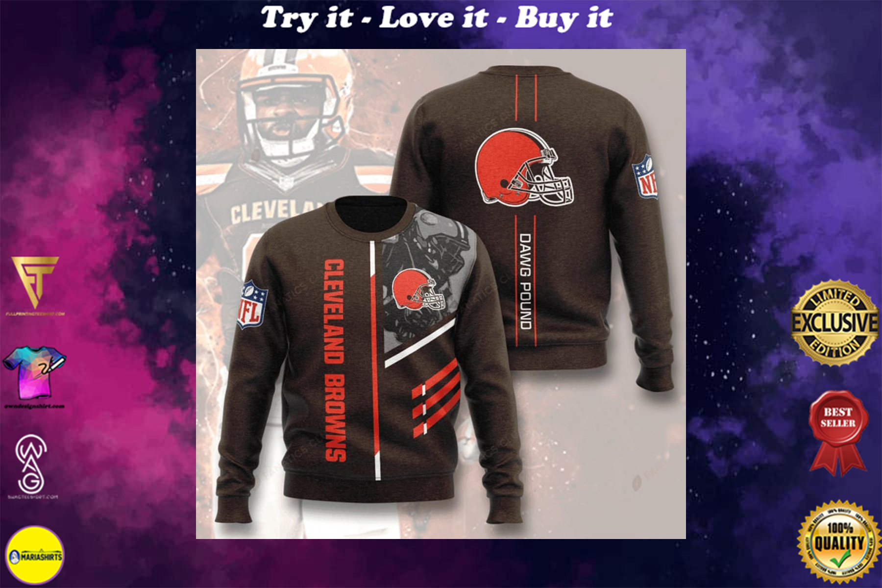 [highest selling] national football league cleveland browns dawg pound full printing ugly sweater - maria