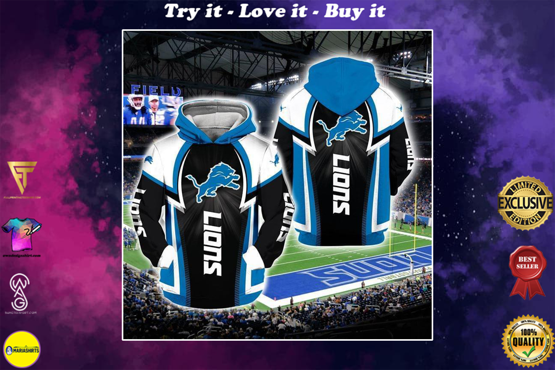 [highest selling] national football league detroit lions full over printed shirt - maria