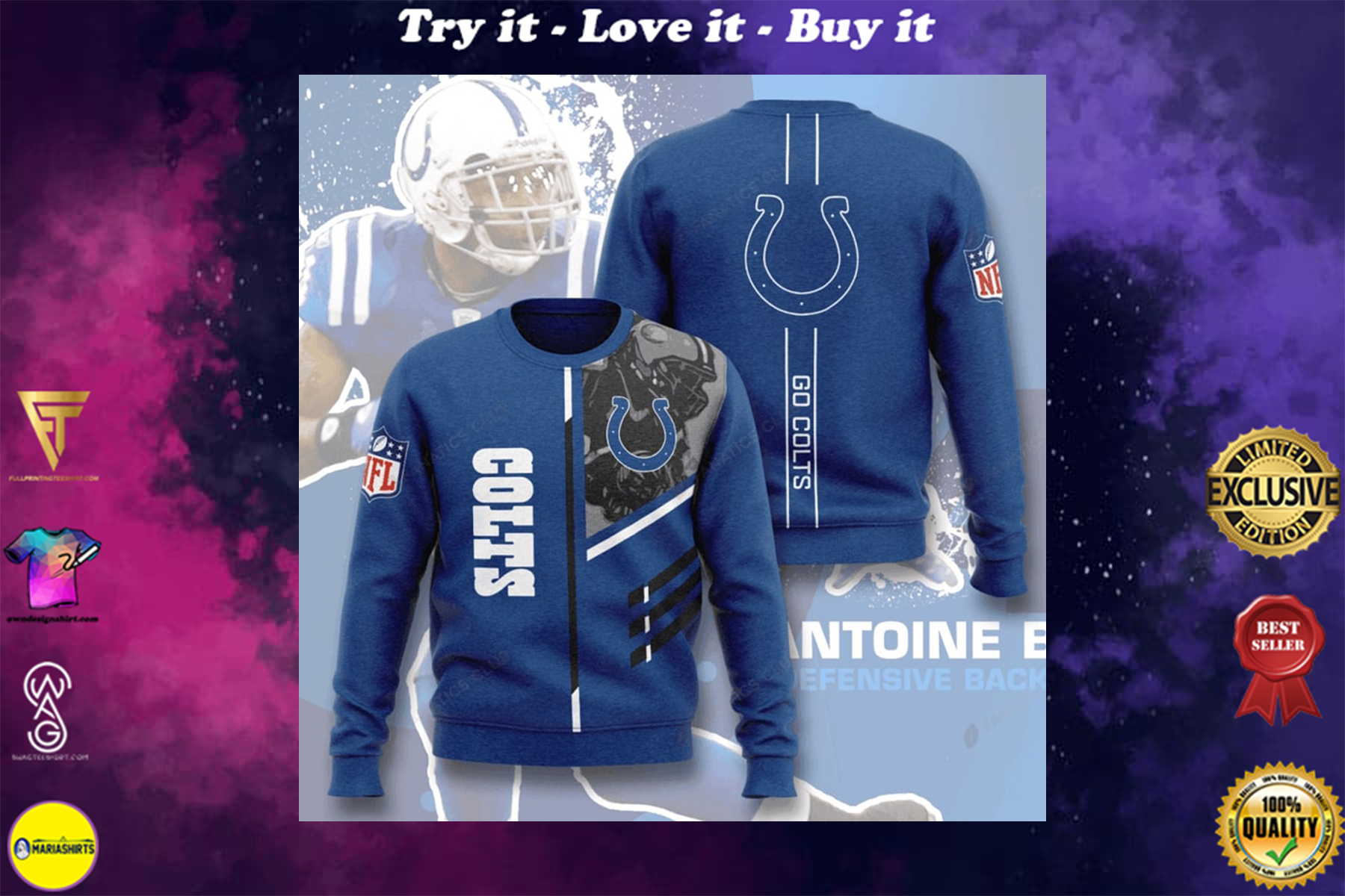 [highest selling] national football league indianapolis colts go colts full printing ugly sweater - maria