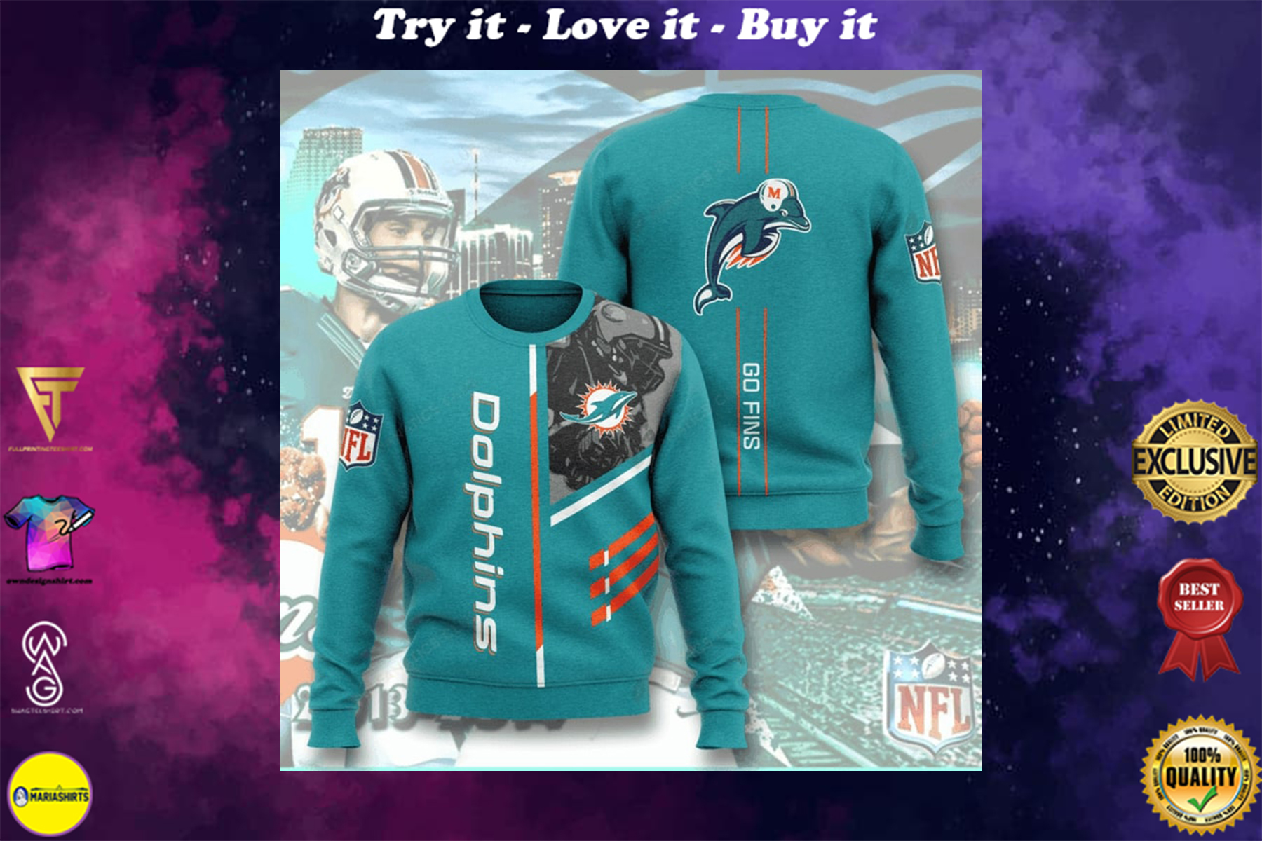 [highest selling] national football league miami dolphins go fins full printing ugly sweater - maria