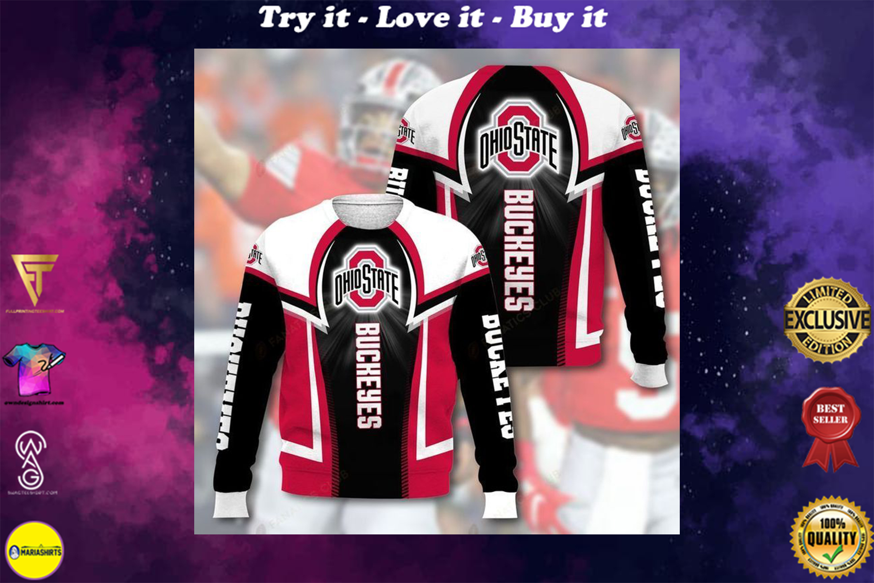 [highest selling] national football league ohio state buckeyes full printing ugly sweater - maria