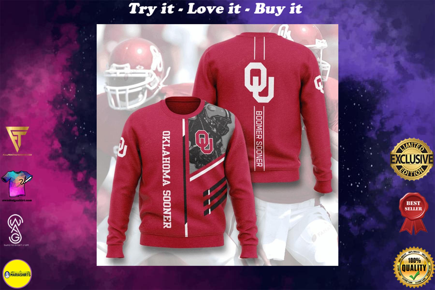 [highest selling] oklahoma sooners boomer sooner full printing ugly sweater - maria