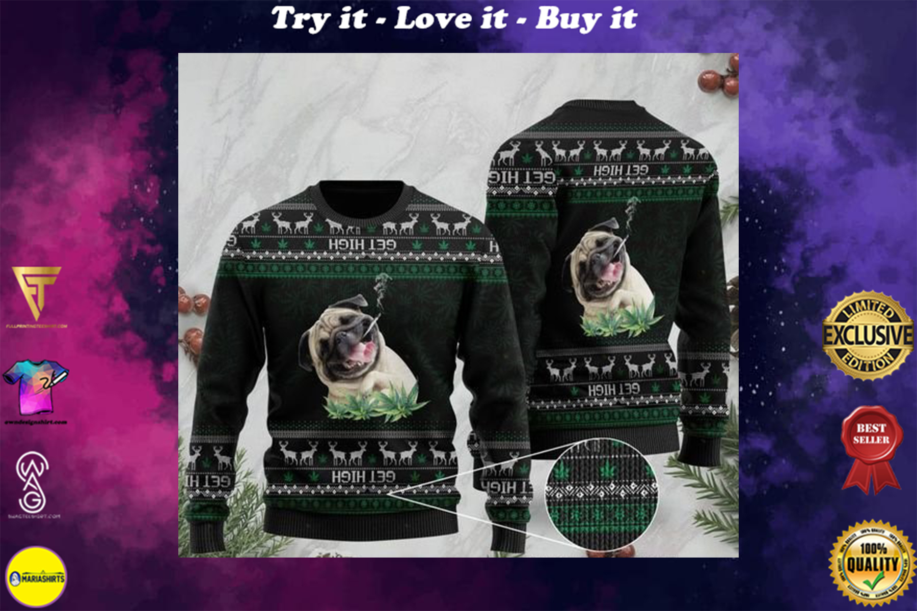 [highest selling] pug get high cannabis full printing ugly sweater - maria