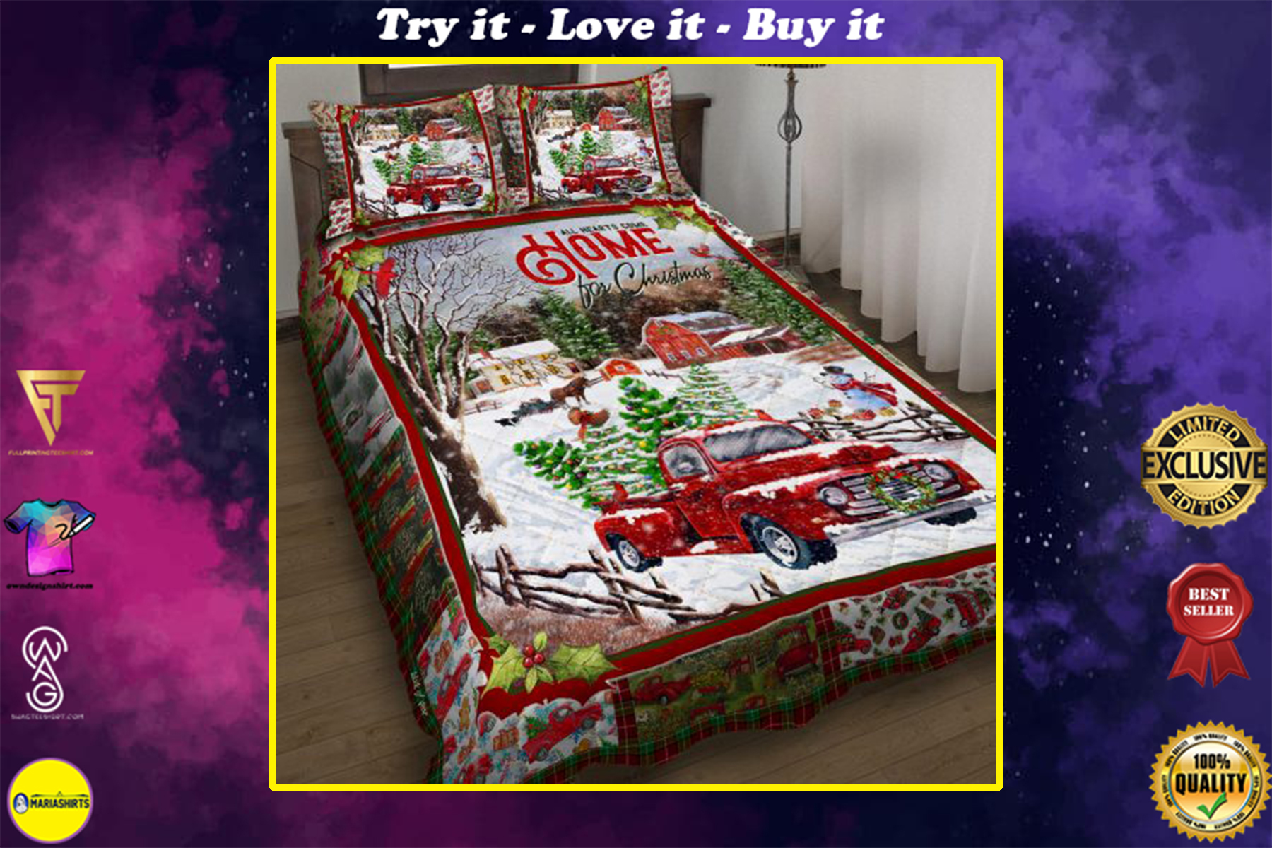 [highest selling] red truck all hearts come home for christmas all over print bedding set - maria