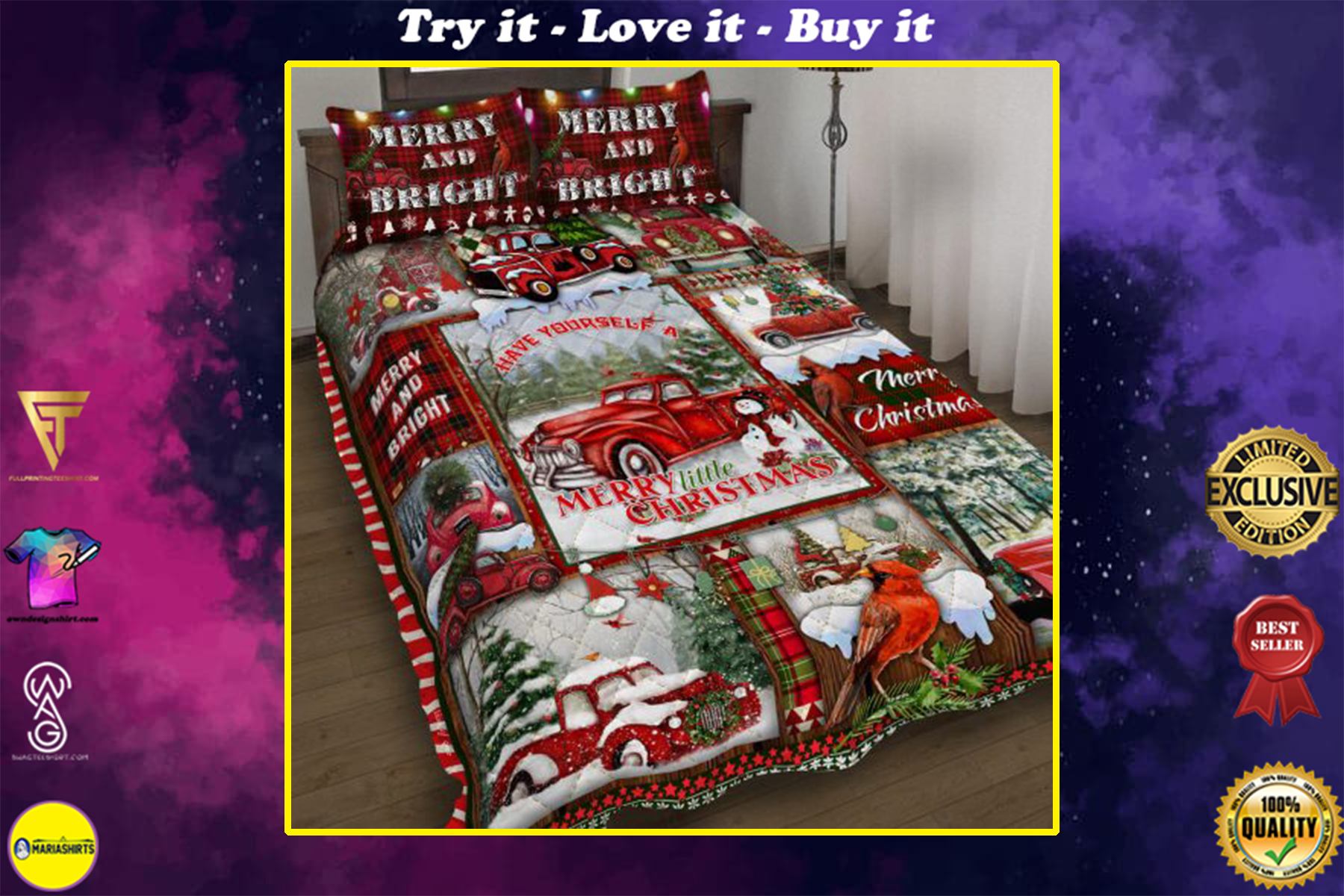 [highest selling] red truck have yourself a merry little christmas bedding set - maria