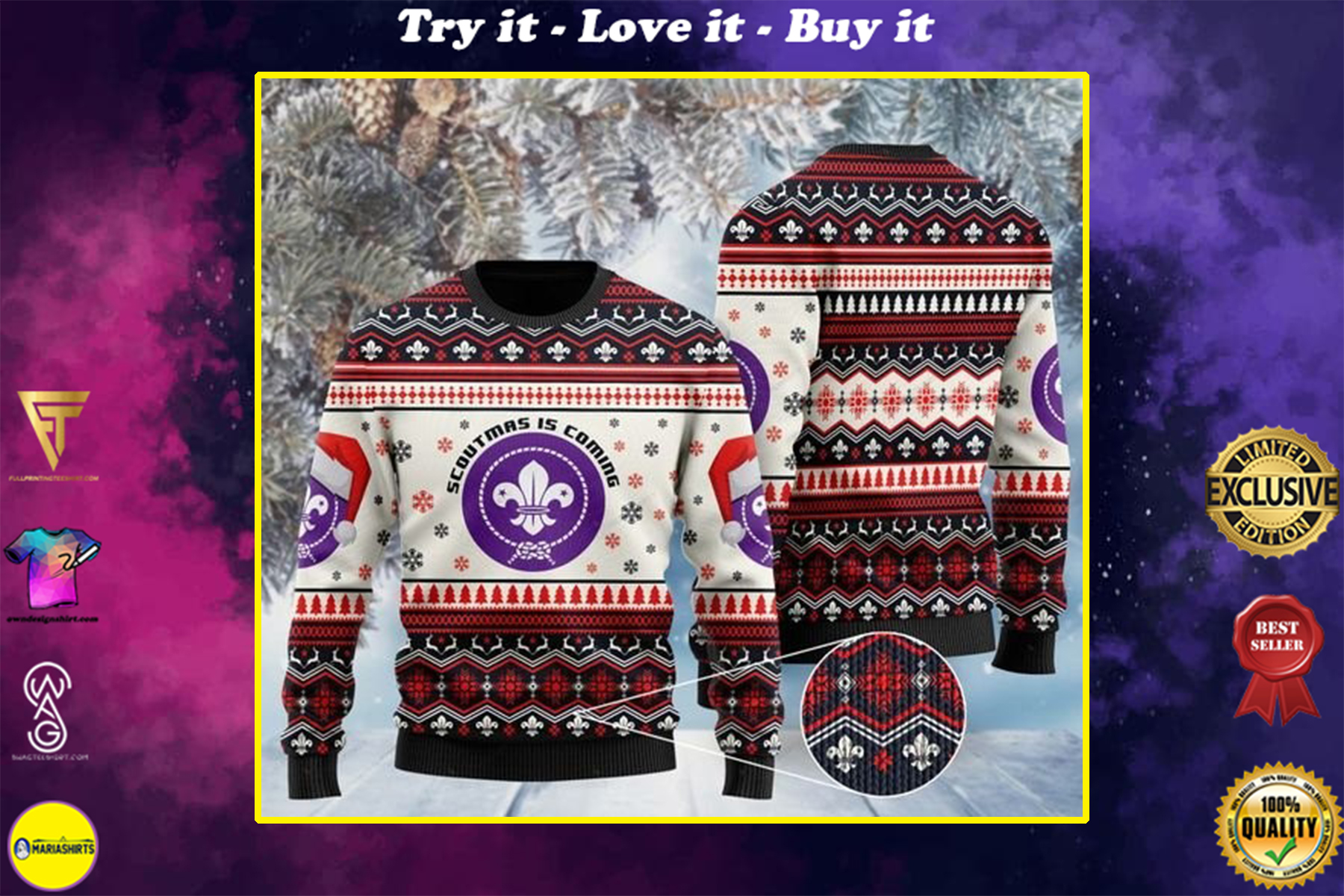 [highest selling] scoutmas is coming full printing christmas ugly sweater - maria