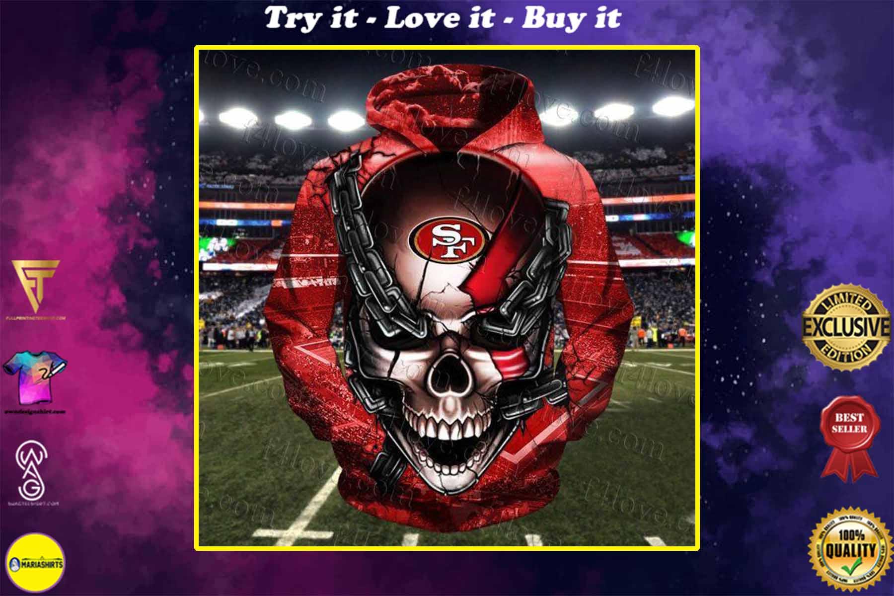 [highest selling] skull chain san francisco 49ers football team full over printed shirt - maria