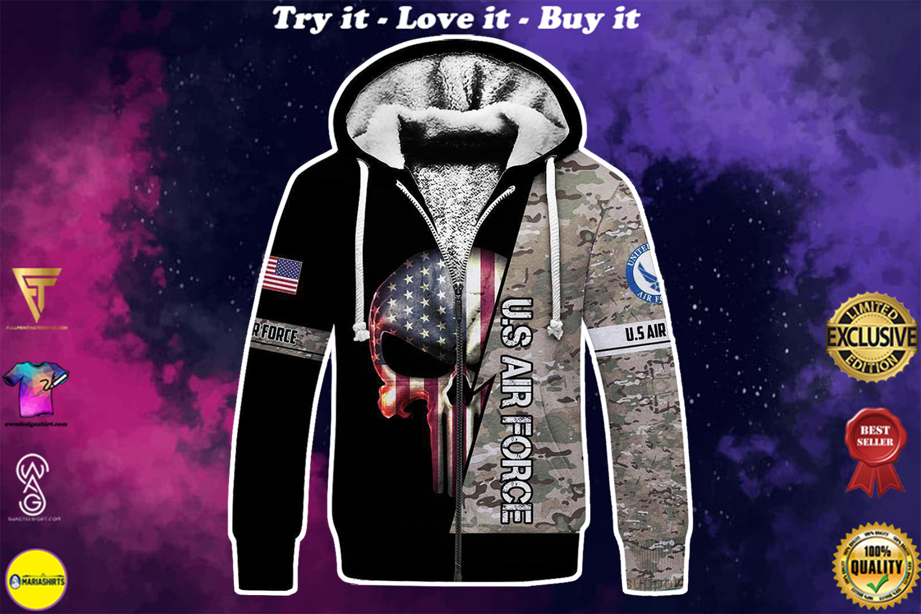 [highest selling] skull the united states air force camo full over printed shirt - maria