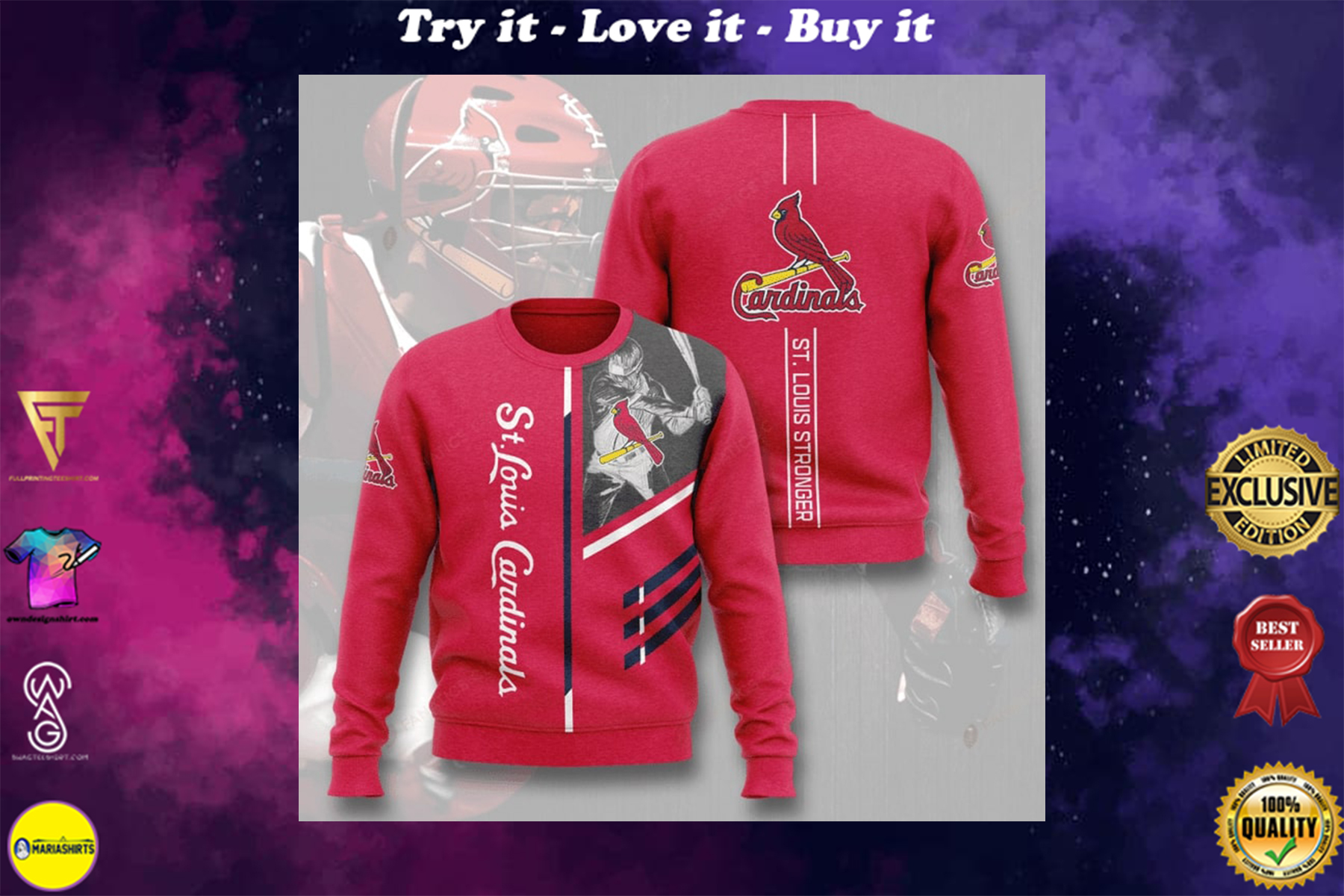 [highest selling] st louis cardinals st louis stronger full printing ugly sweater - maria