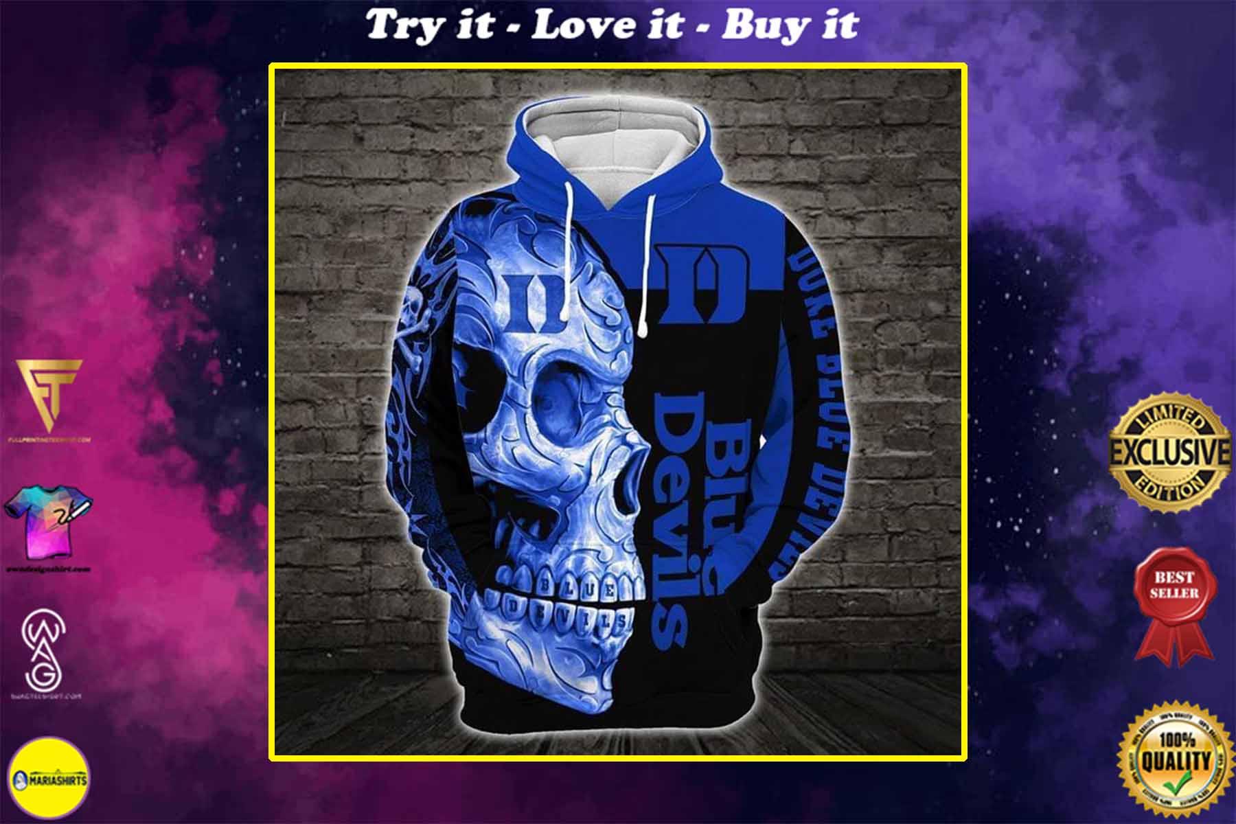 [highest selling] sugar skull duke blue devils mens basketball full over printed shirt - maria
