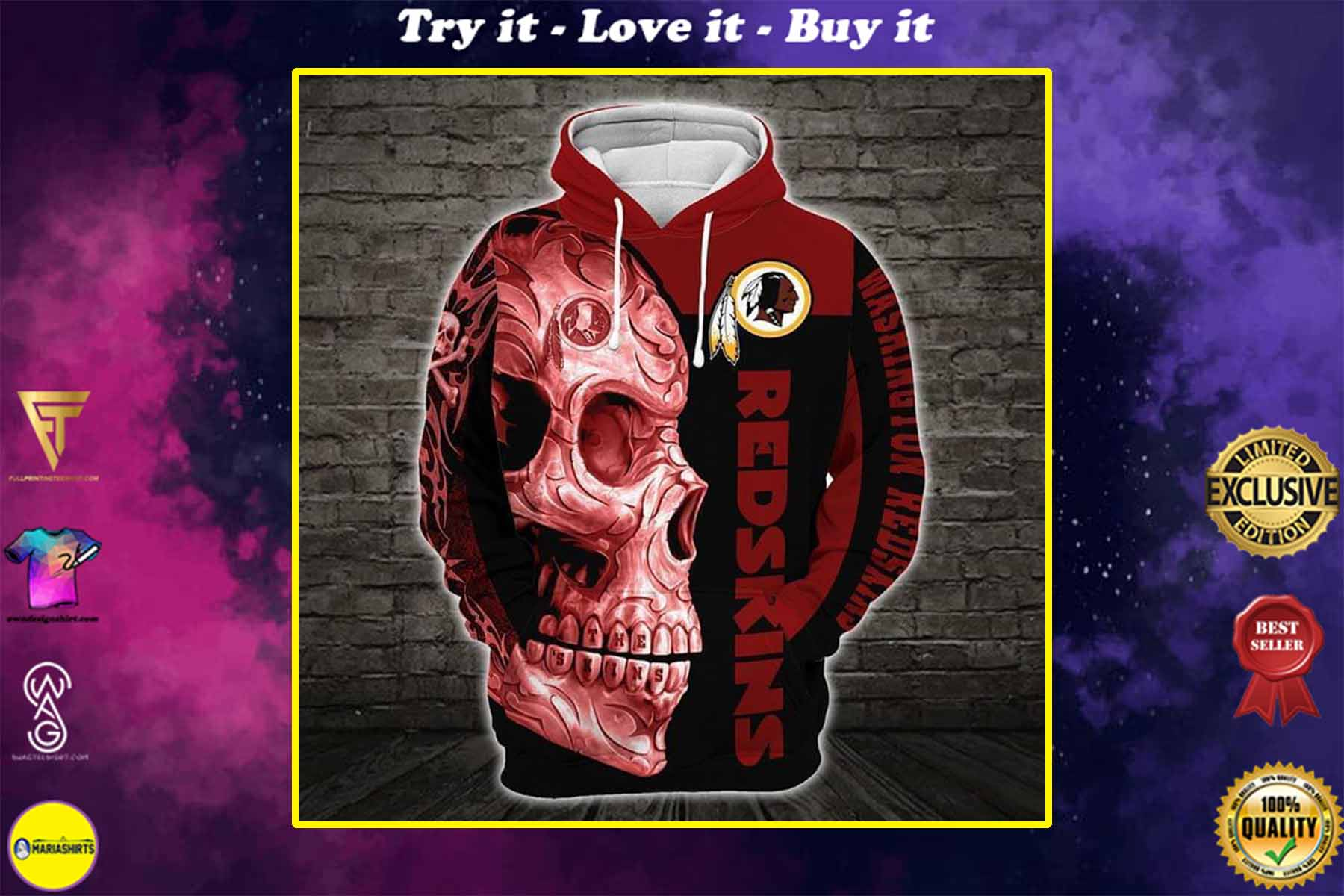 [highest selling] sugar skull washignton redskins football team full over printed shirt - maria