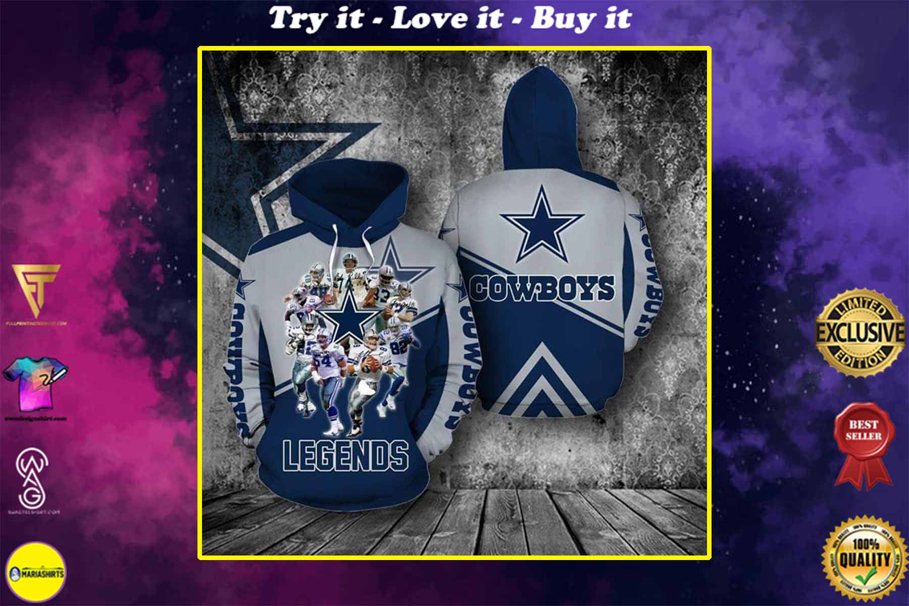 [highest selling] the dallas cowboys legends members full over printed shirt - maria
