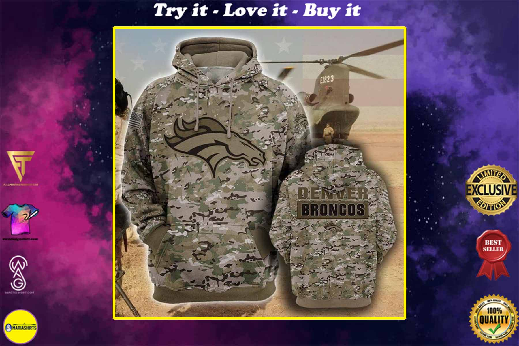[highest selling] the denver broncos football team camo style full over printed shirt - maria