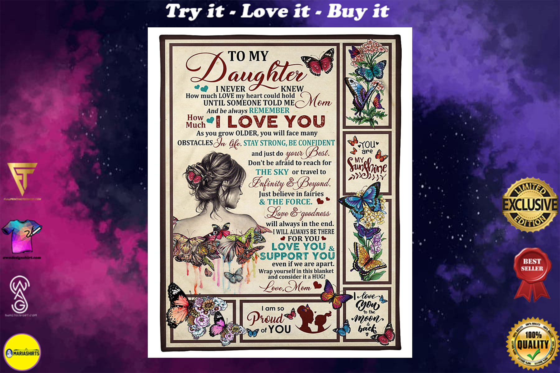 [highest selling] the girl and butterfly to my daughter be always remember how much i love you blanket - maria