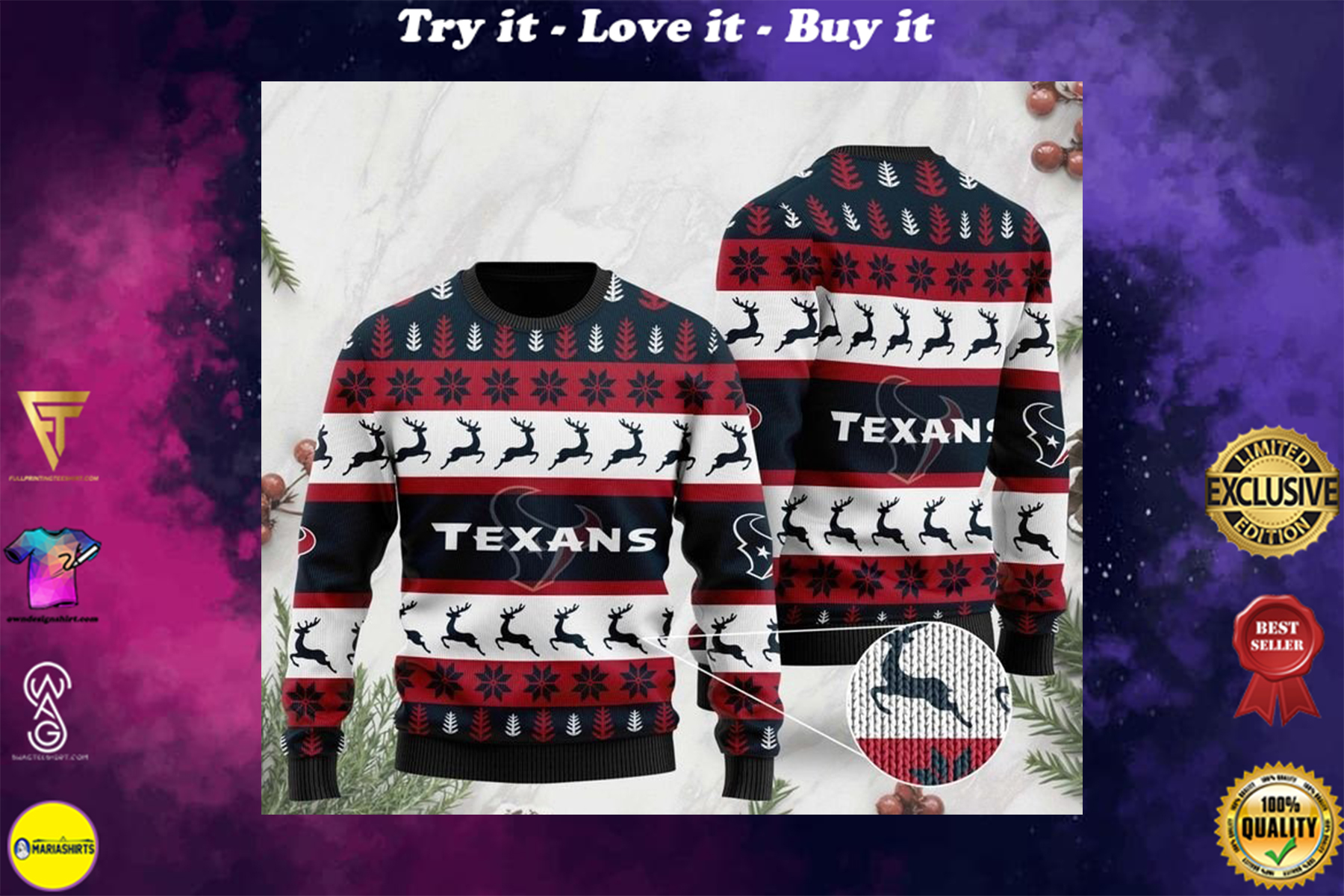 [highest selling] the houston texans football team christmas ugly sweater - maria
