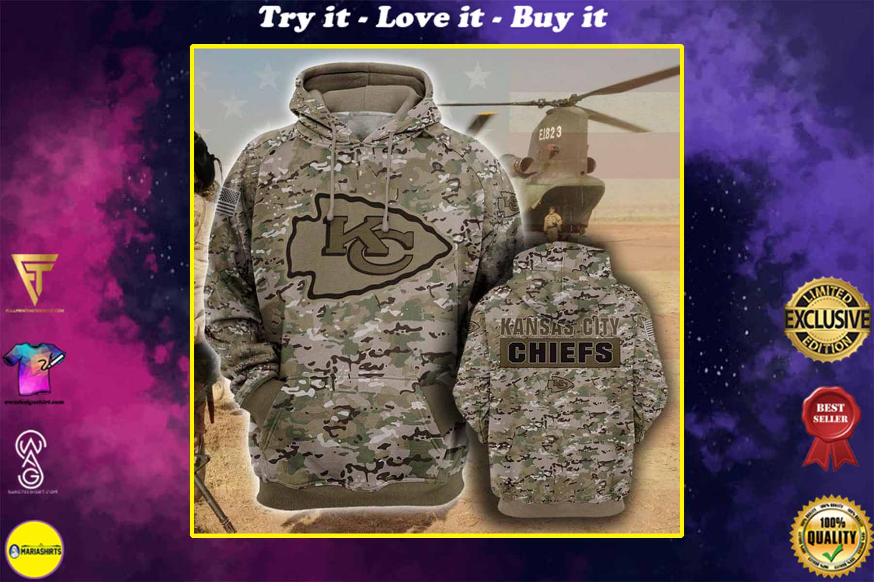 [highest selling] the kansas city chiefs camouflage veteran full over printed shirt - maria