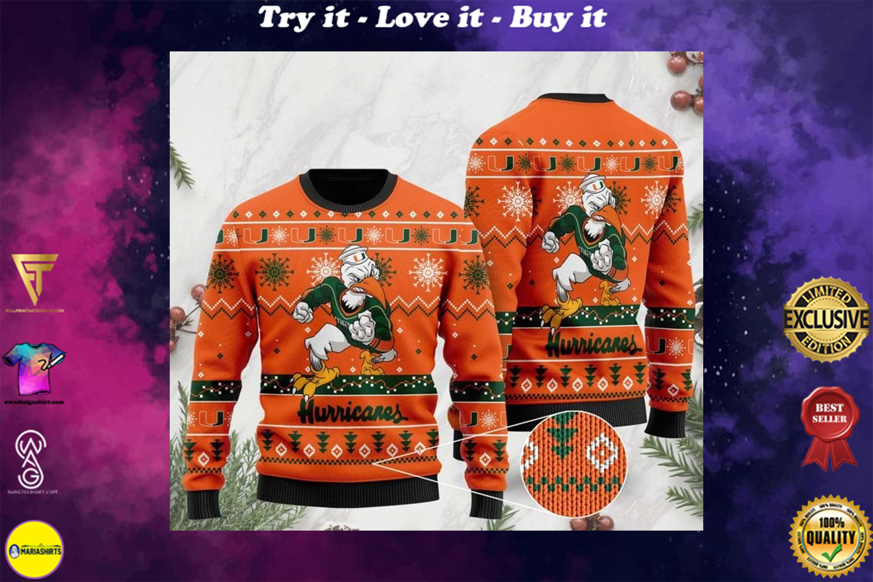 [highest selling] the miami hurricanes football christmas ugly sweater - maria