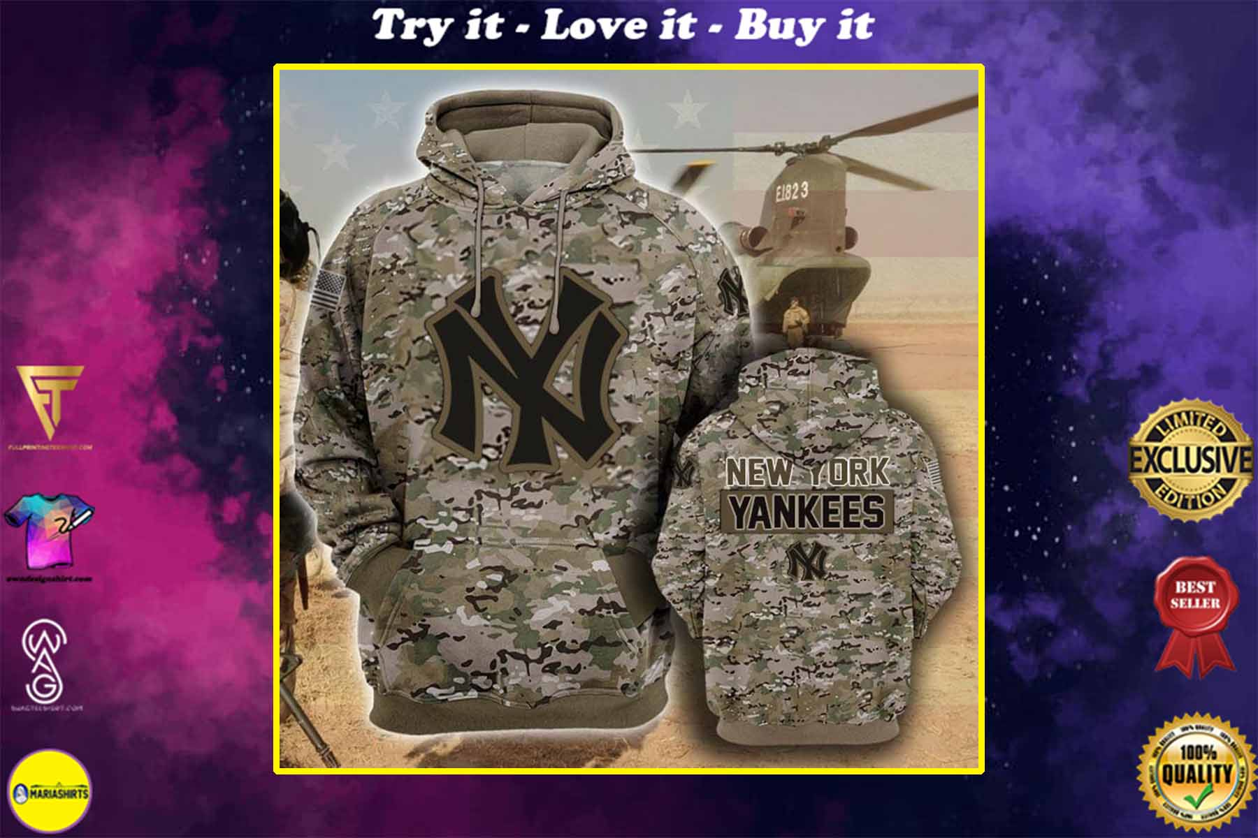 [highest selling] the new york yankees camouflage veteran full over printed shirt - maria