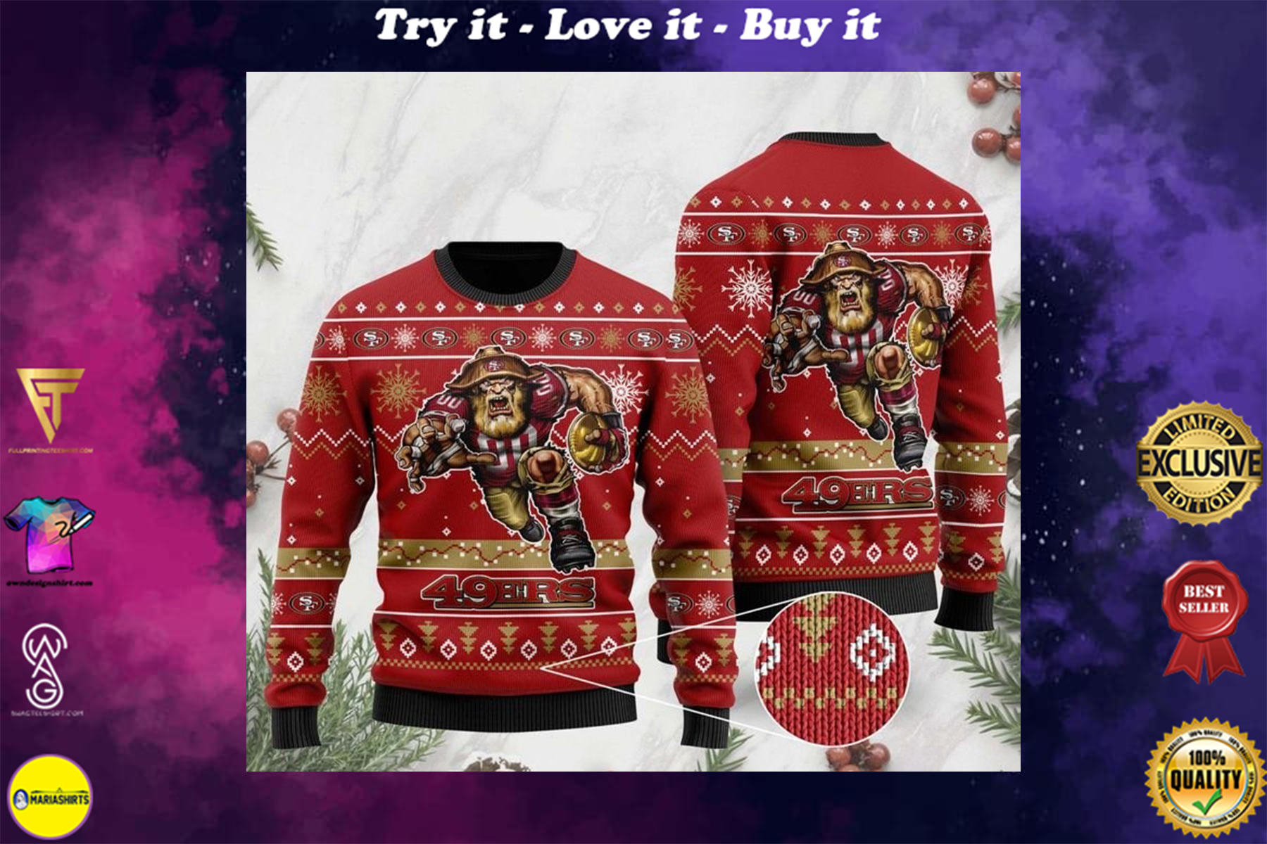 [highest selling] the san francisco 49ers football team christmas ugly sweater - maria