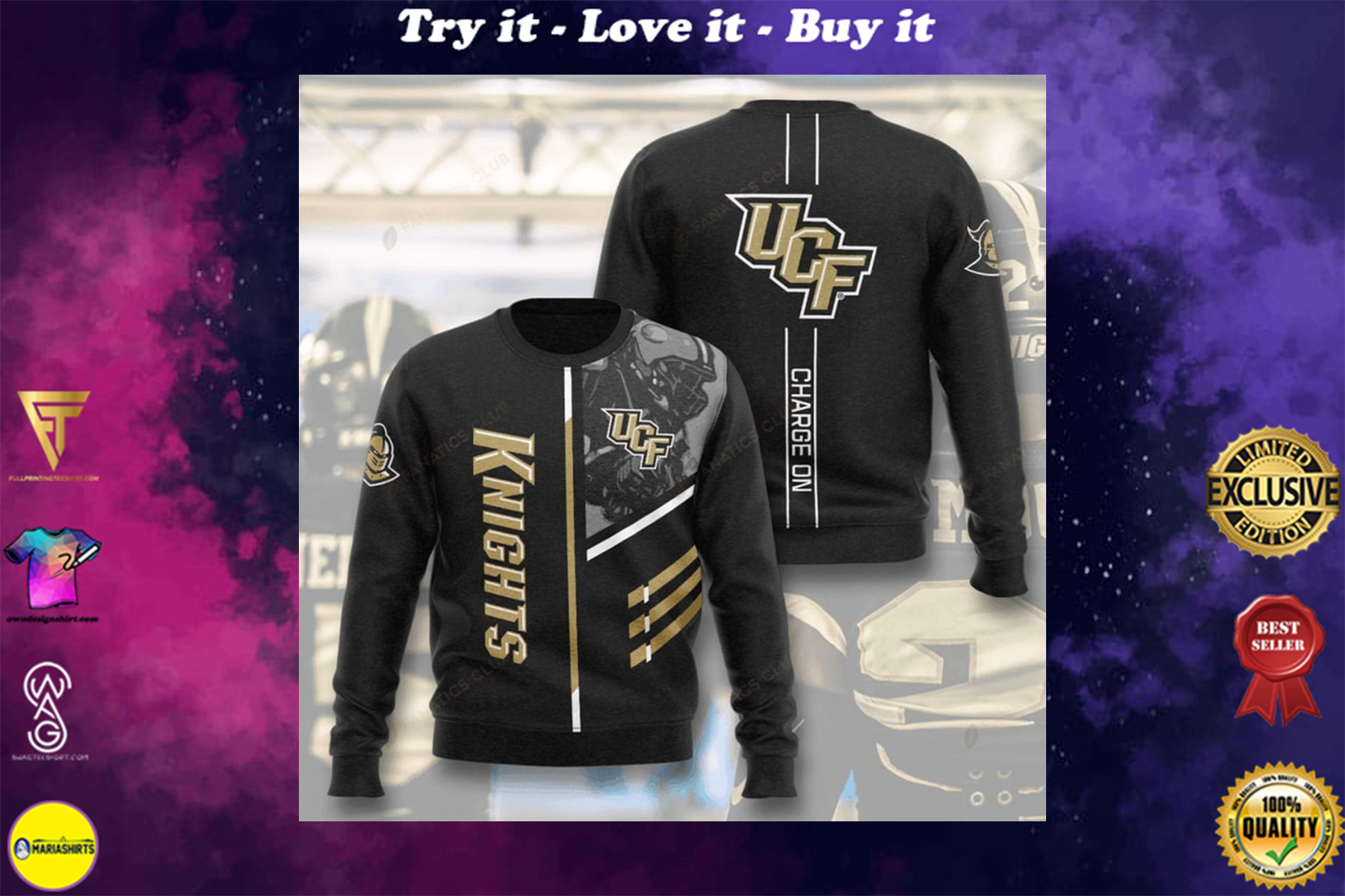 [highest selling] ucf knights football charge on full printing ugly sweater - maria