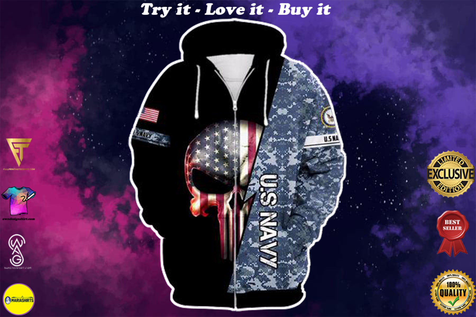 [highest selling] us navy skull american flag camo full over printed shirt - maria