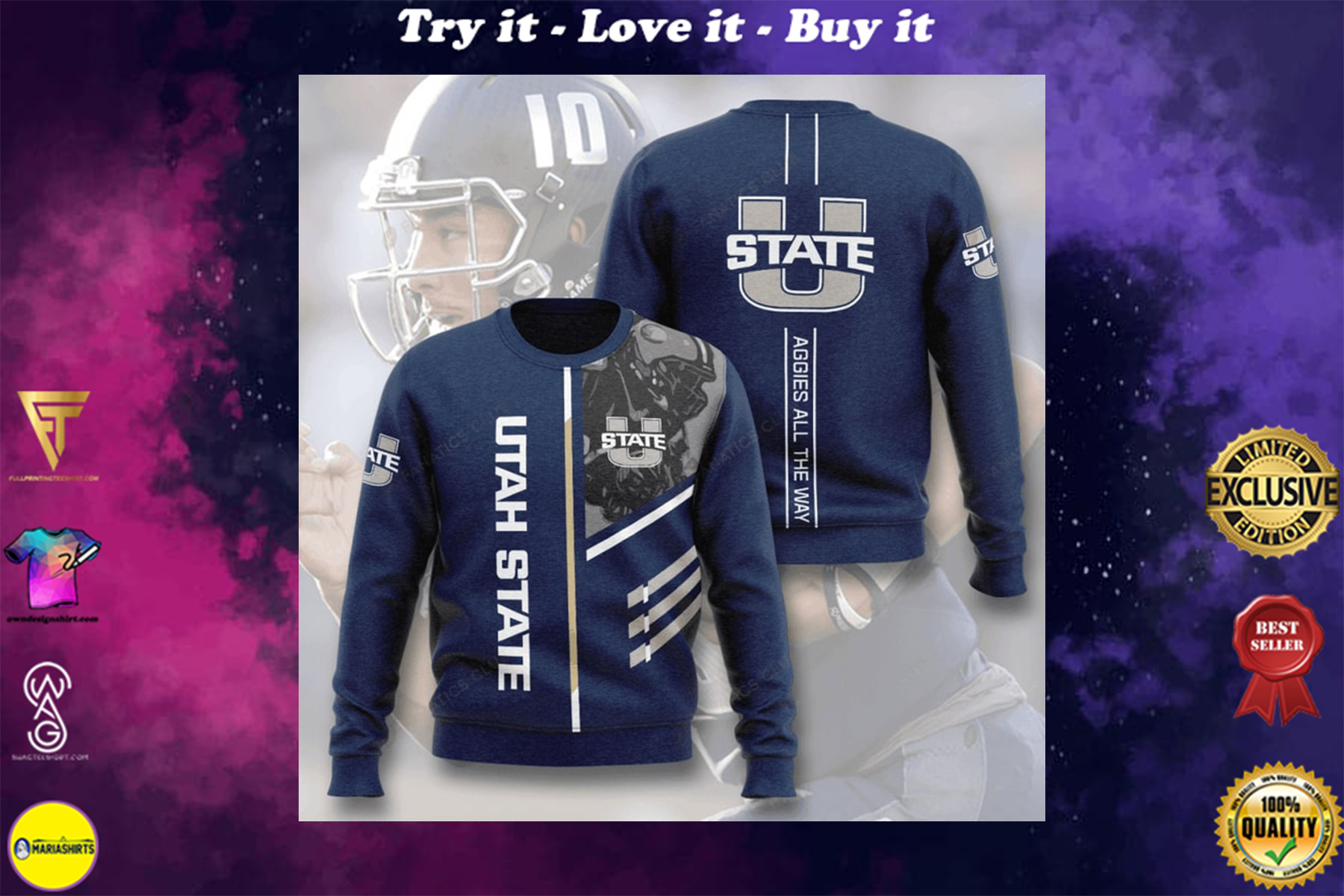 [highest selling] utah state aggies football aggies all the way full printing ugly sweater - maria