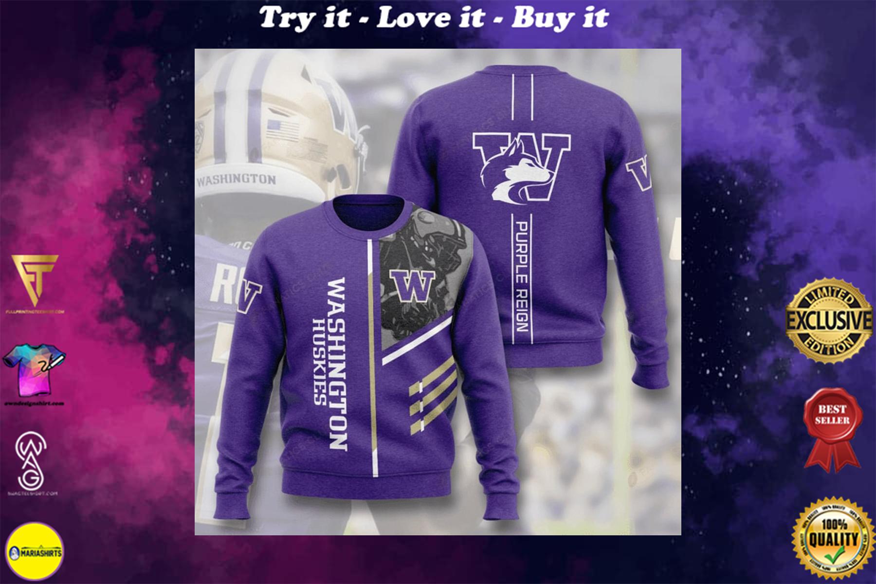 [highest selling] washington huskies football purple reign full printing ugly sweater - maria