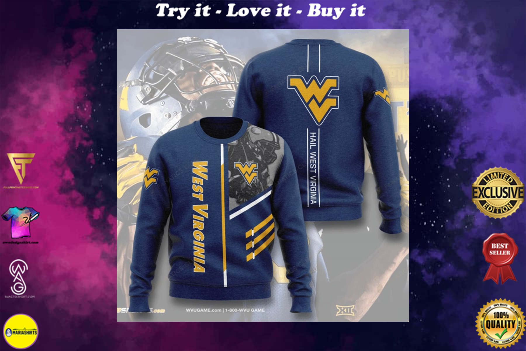 [highest selling] west virginia mountaineers football hail west virginia full printing ugly sweater - maria