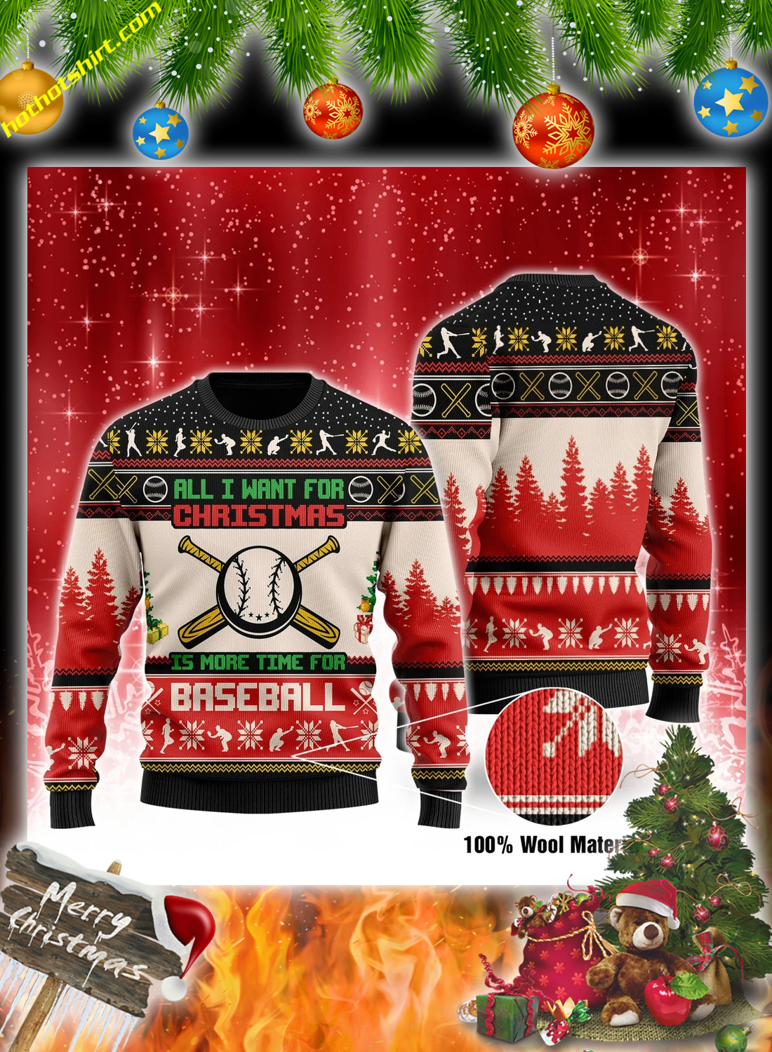 All i want for christmas is more time for baseball christmas sweater