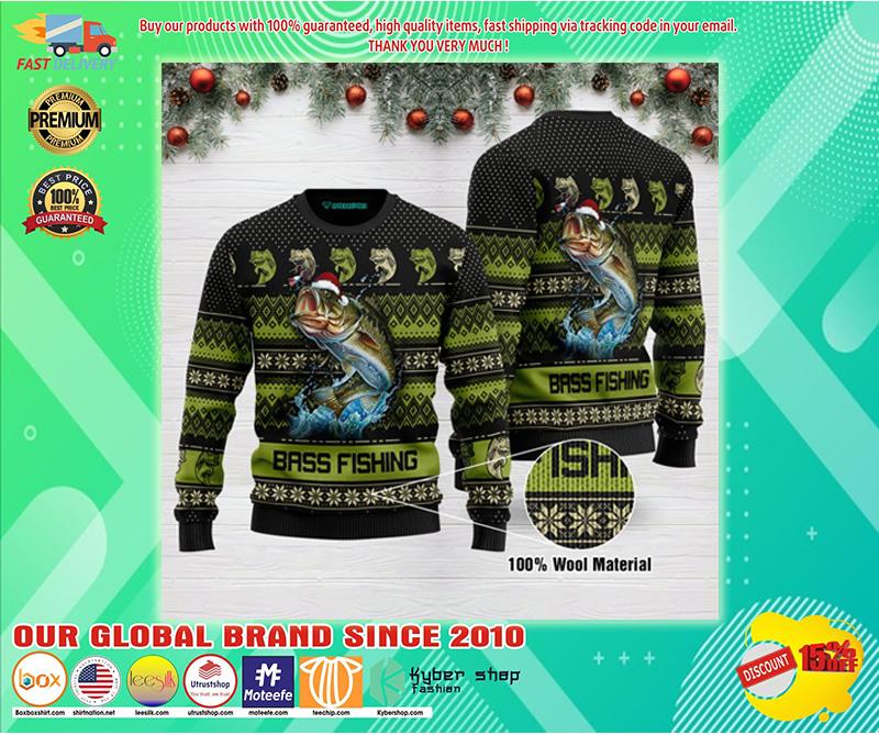 Bass fishing ugly christmas sweater - BBS