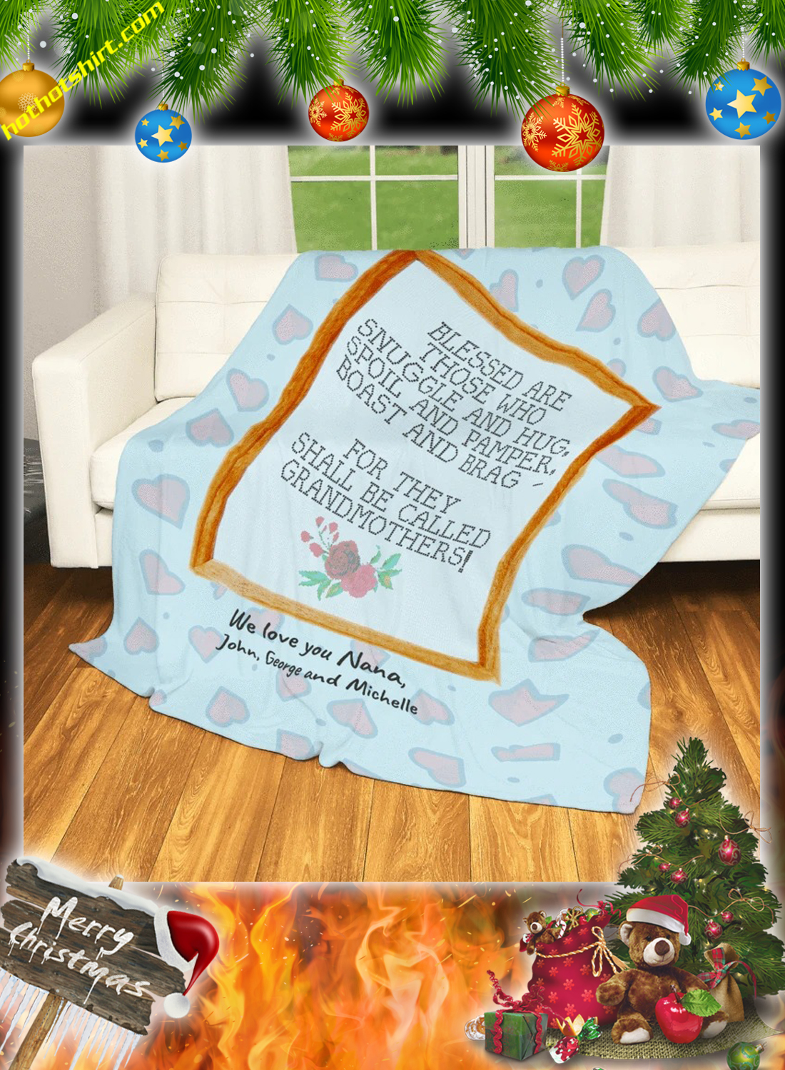 Blessed are those who snuggle and hug grandmothers personalized custom blanket 1