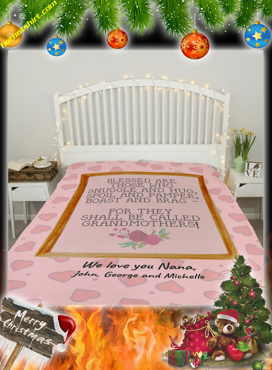 Blessed are those who snuggle and hug grandmothers personalized custom blanket 2