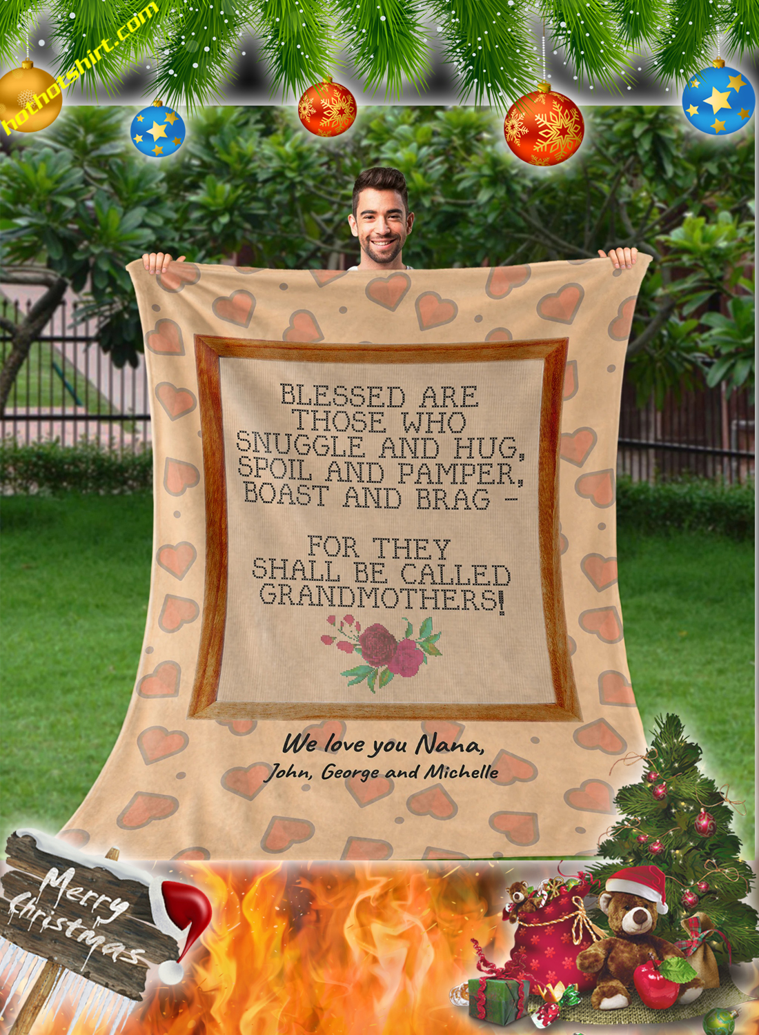 Blessed are those who snuggle and hug grandmothers personalized custom blanket