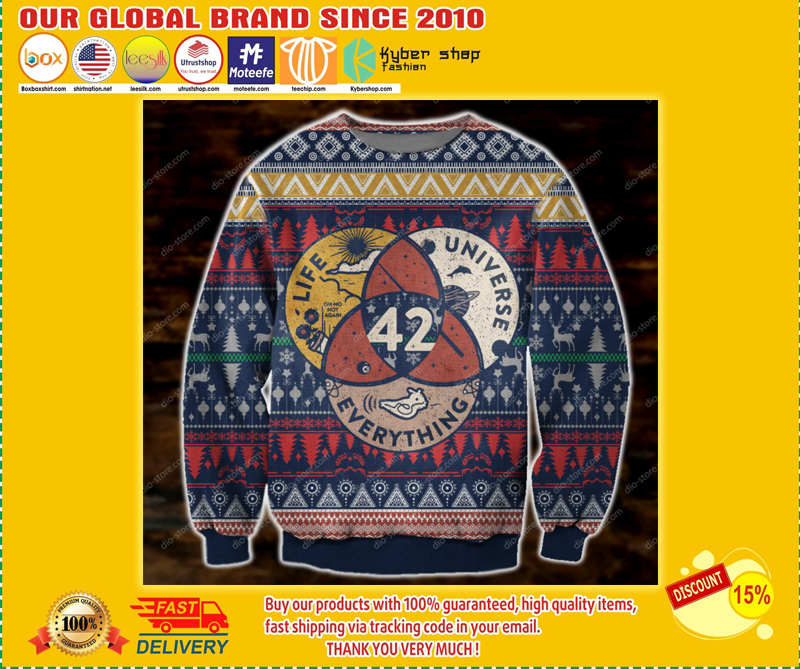 LIFE THE UNIVERSE AND EVERYTHING 42 UGLY CHRISTMAS SWEATER - BBS