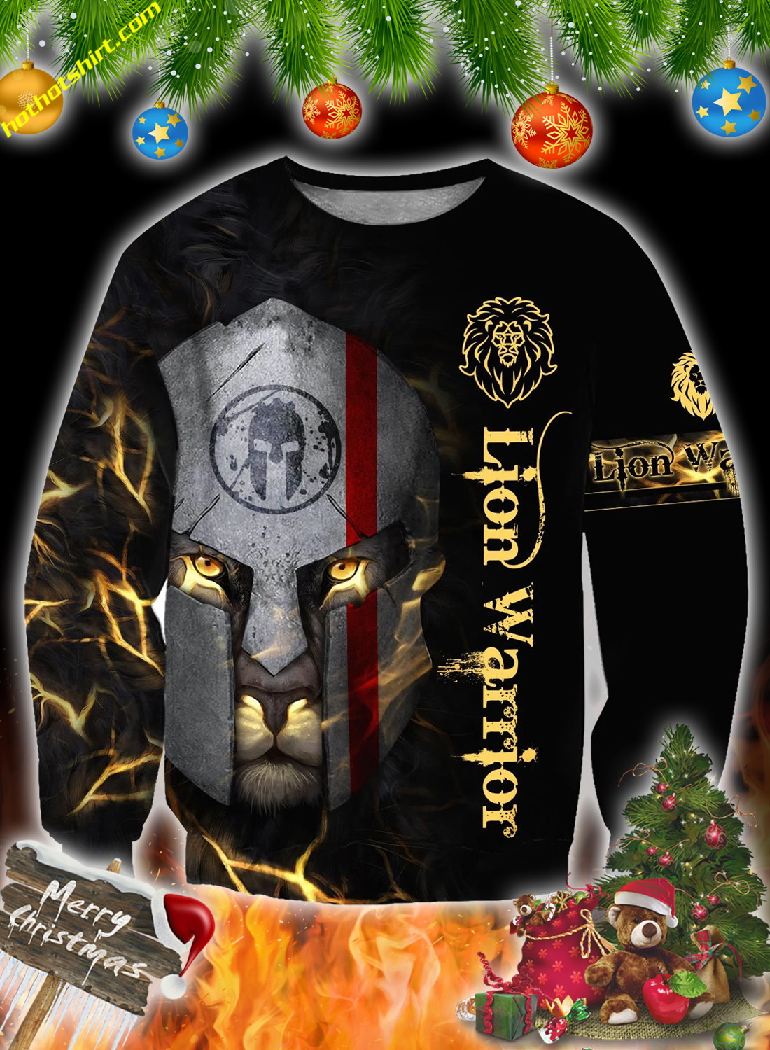 Lion spartan warrior 3d all over printed hoodie and sweatshirt 3
