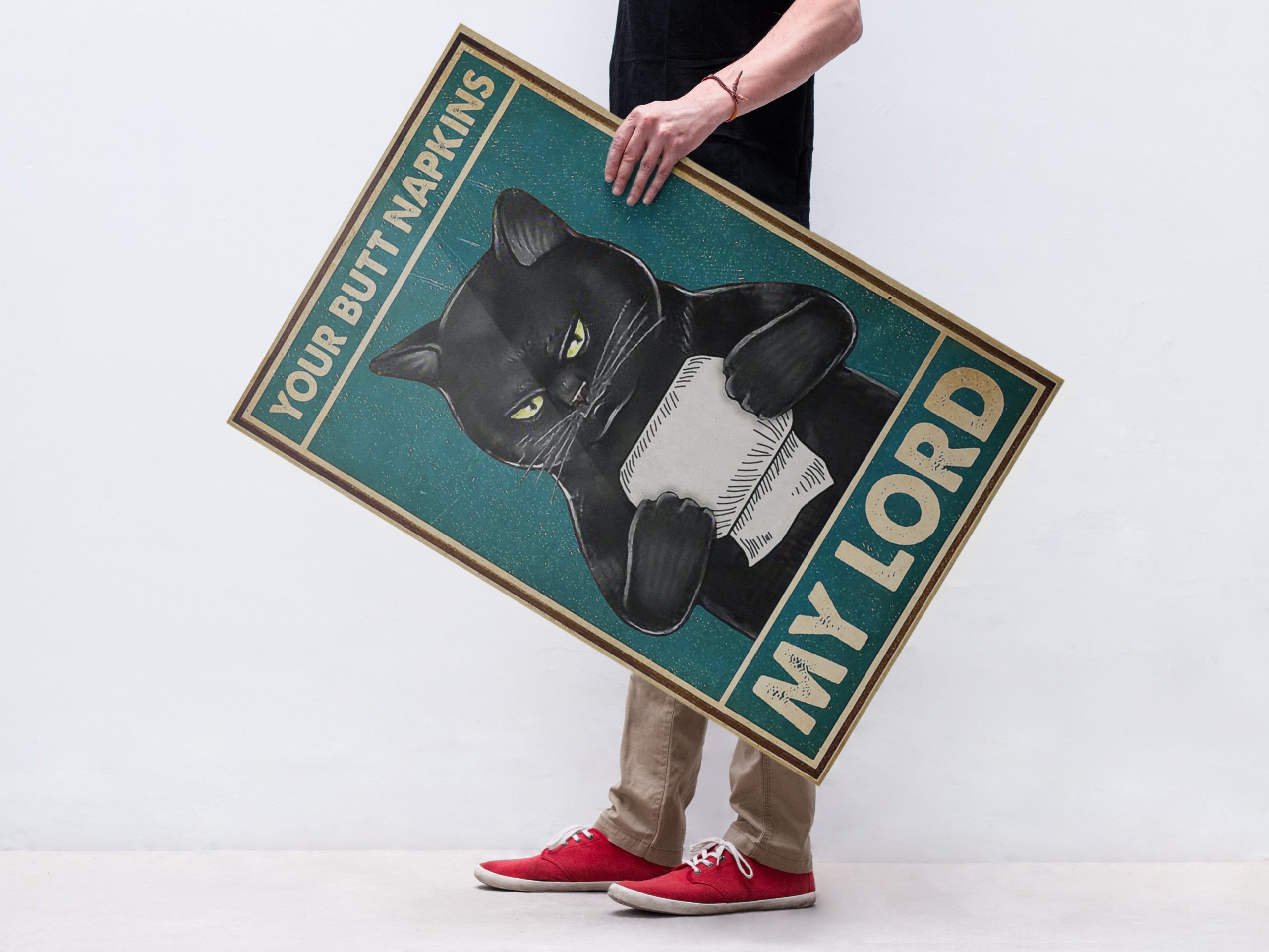 Black cat your butt napkins my Lord poster 2
