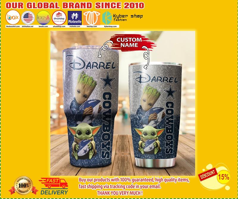 Baby Yoda and Groot Dallas Cowboys Custom name Tumblers - BBS