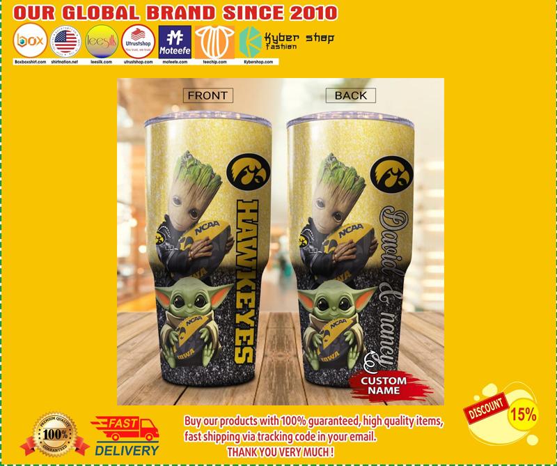 Baby Yoda and Groot Iowa Hawkeyes Custom name Tumbler - BBS