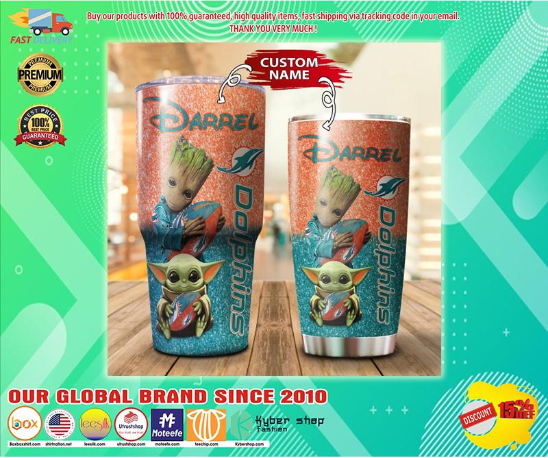 Baby Yoda and Groot Miami Dolphins Custom name Tumbler - BBS