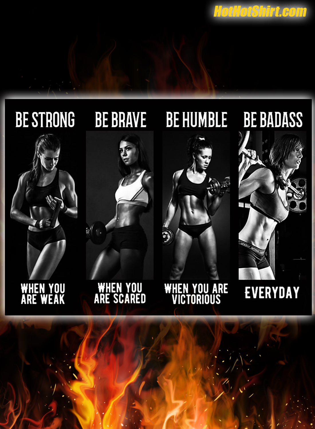 Bodybuilding Girl be strong be brave be humble be badass poster 1