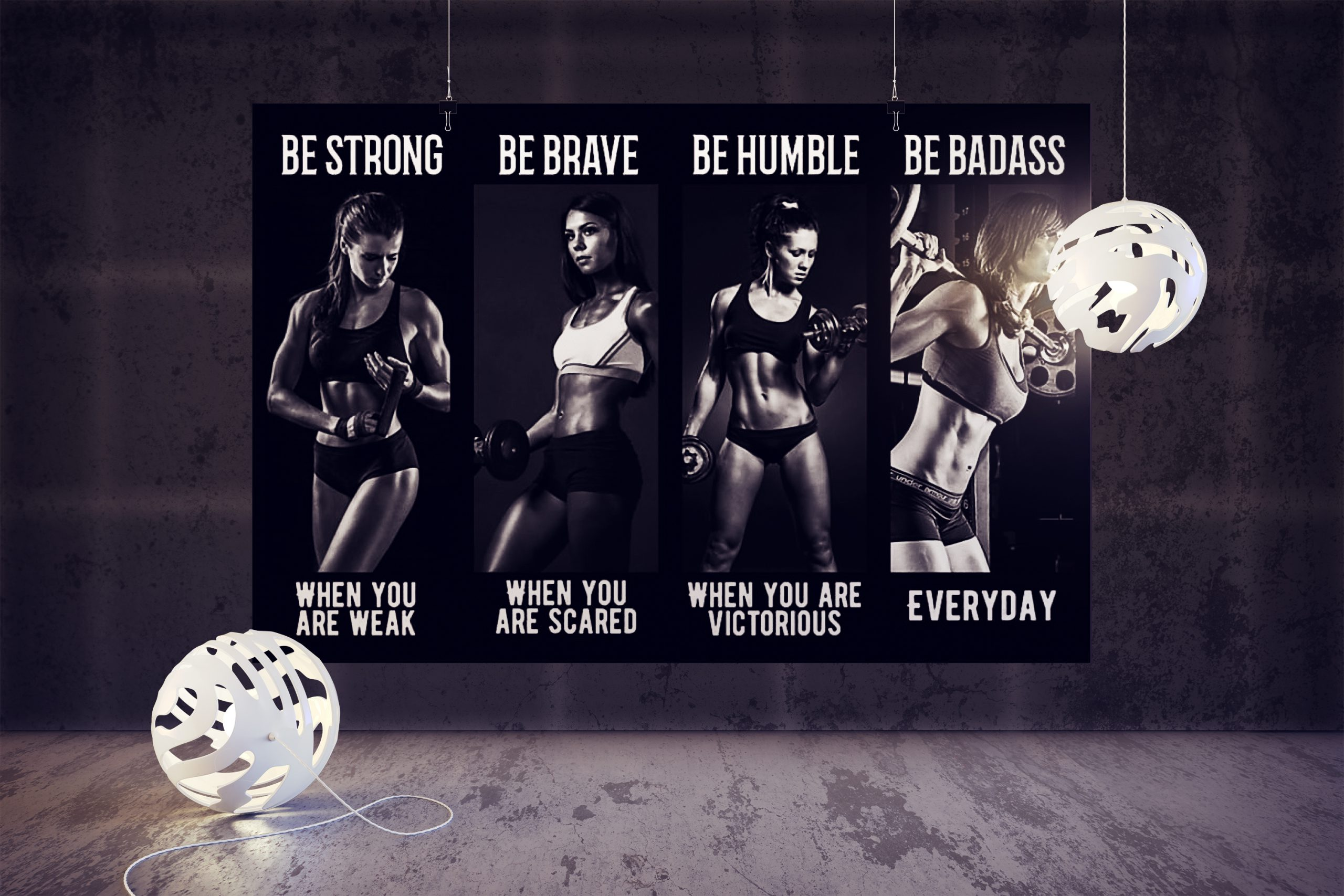 Bodybuilding Girl be strong be brave be humble be badass poster 2