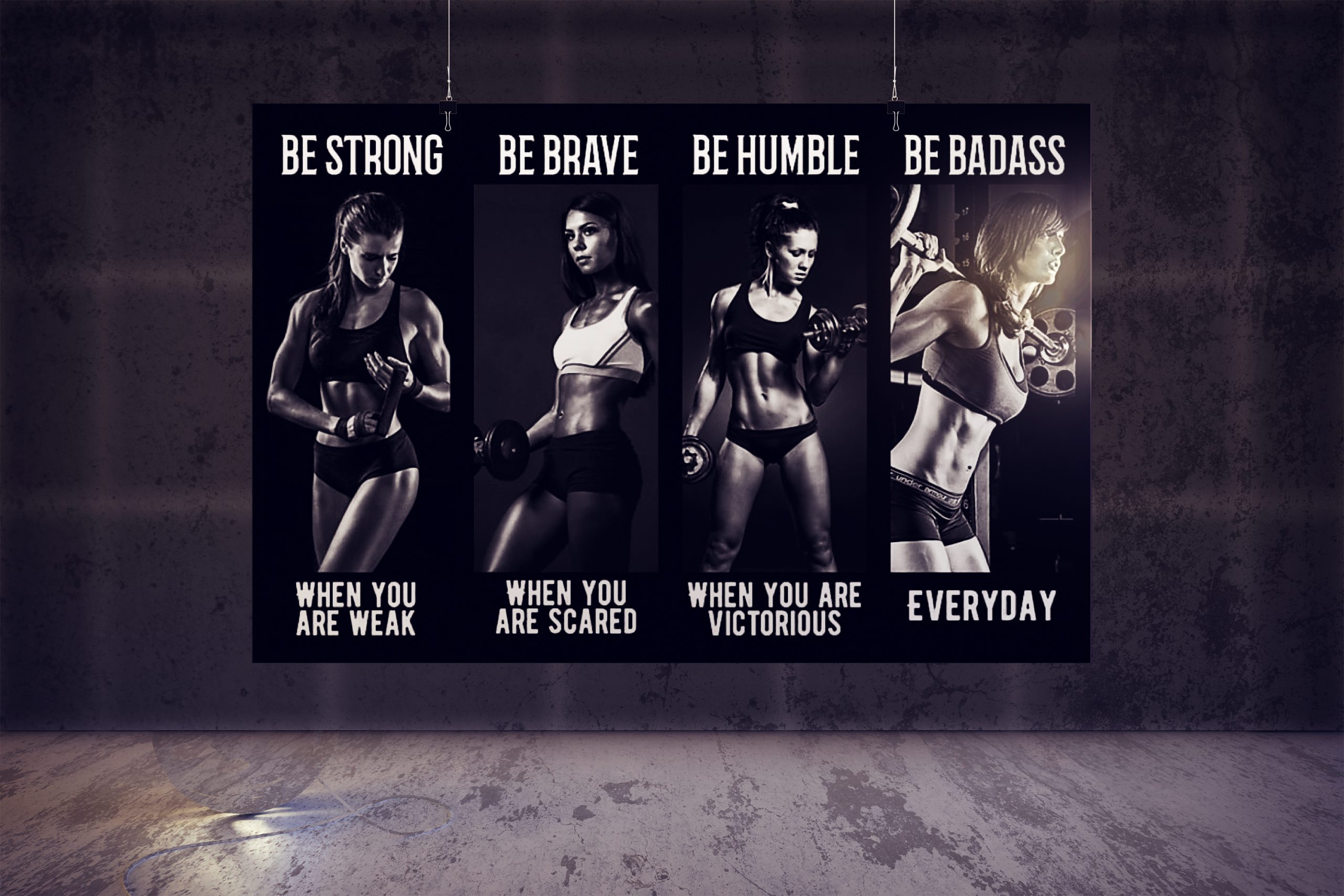 Bodybuilding Girl be strong be brave be humble be badass poster 3