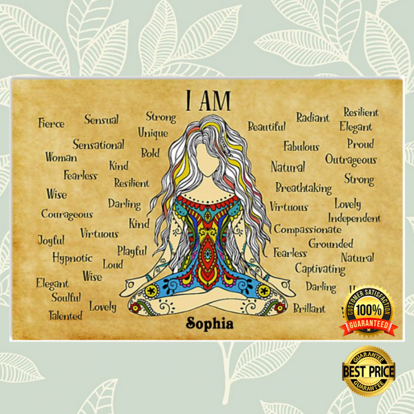 PERSONALIZED NAMASTE GIRL I AM STRONG UNIQUE POSTER