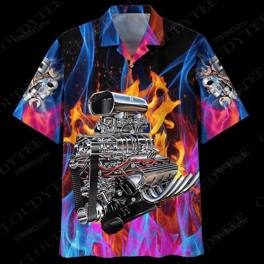 Hot rod engine hawaiian shirt - Hothot 270521