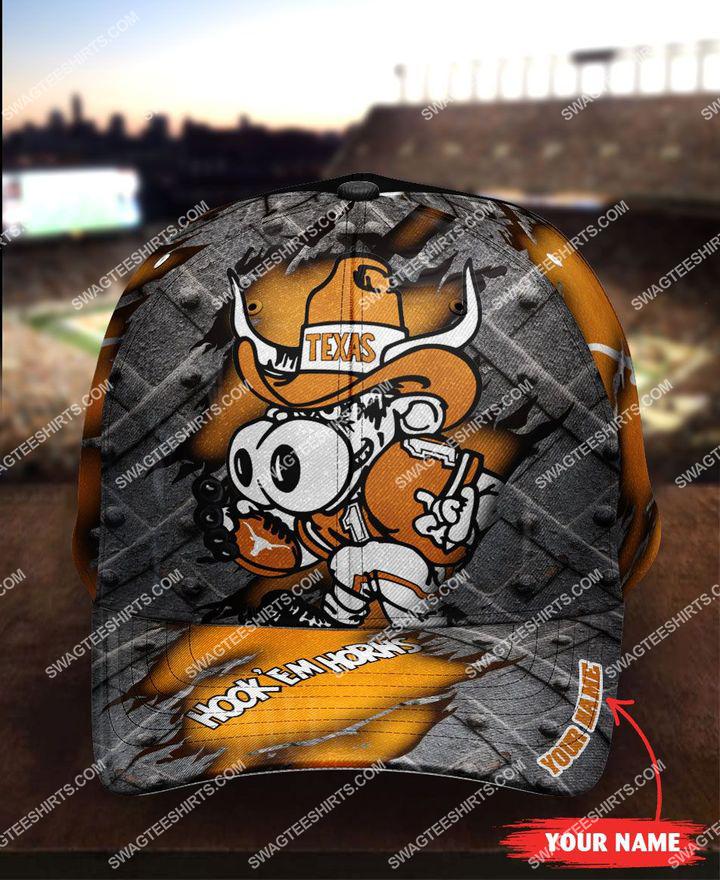 [highest selling] custom name hook 'em horns texas longhorns football full printing cap - maria
